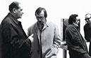 Otto Mauer im Atelier von Karl Prantl, 1972, mit österreichischen Malern